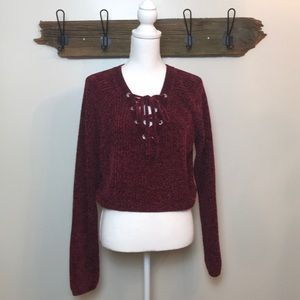 Sweater Burgundy Chenille Pacsun Tie Front NWT